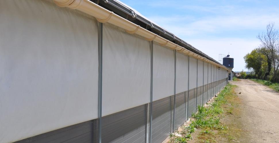 rideaux isolés bâtiment avicole